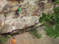 [Brett Perkins climbing Proper Soul (5.14a) on gear]